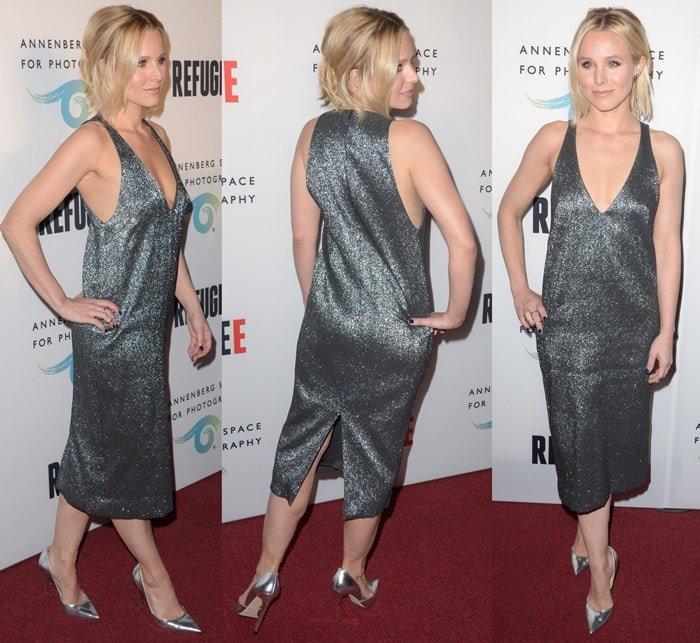 Kristen Bell rocks a silver metallic midi dress from Camilla and Marc