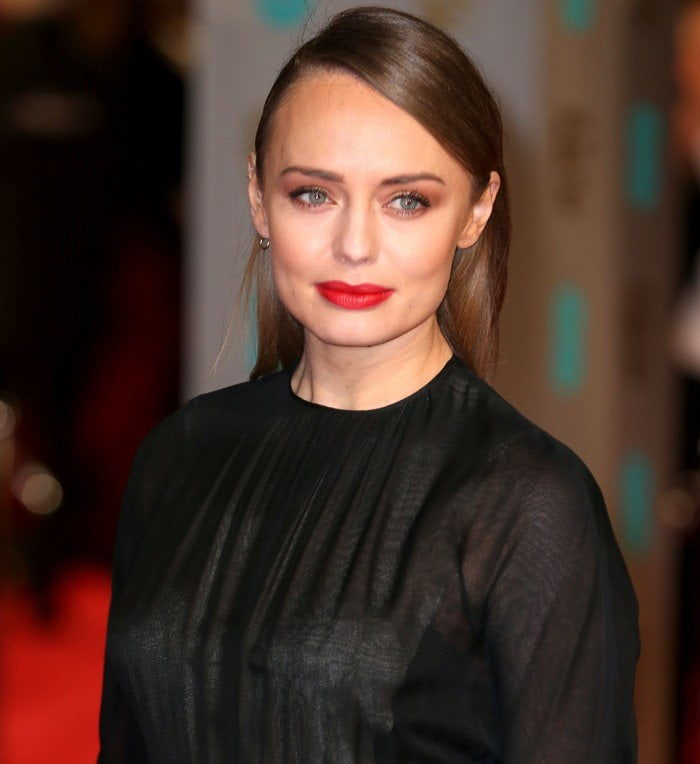 Laura Haddock on the red carpet at the 2016 EE British Academy Film Awards held at the Royal Opera House in London on February 14, 2016