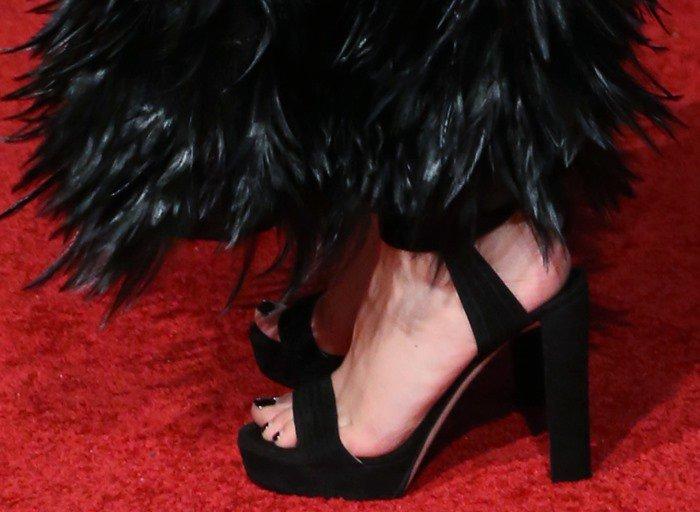 Laura Haddock showing off her feet in Jimmy Choo 'Kaytrin' heels