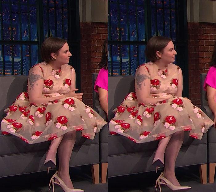 Lena Dunham Nicholas Kirkwood pumps Seth Meyers 1
