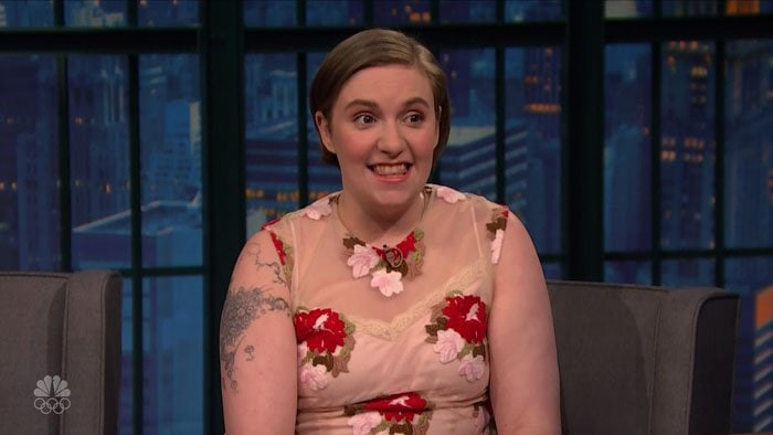 Lena Dunham floral dress Seth Meyers