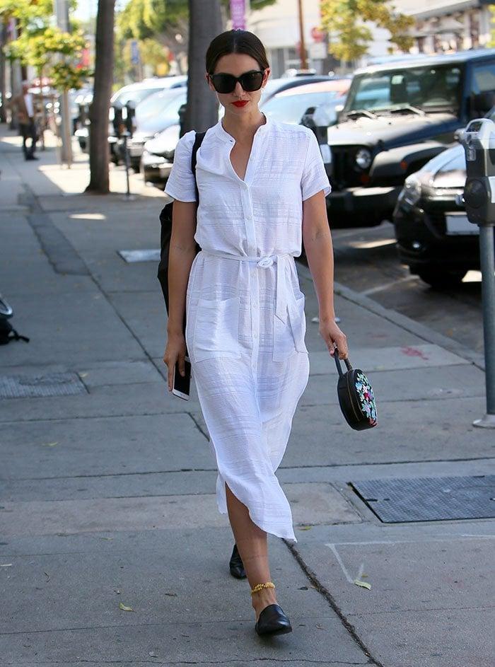 Lily-Aldridge-Reformation-white-maxi-dress
