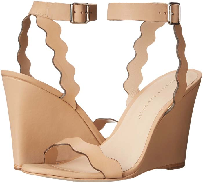 """Loeffler Randall """"Piper"""" Scallop Leather Wedge Sandals"""
