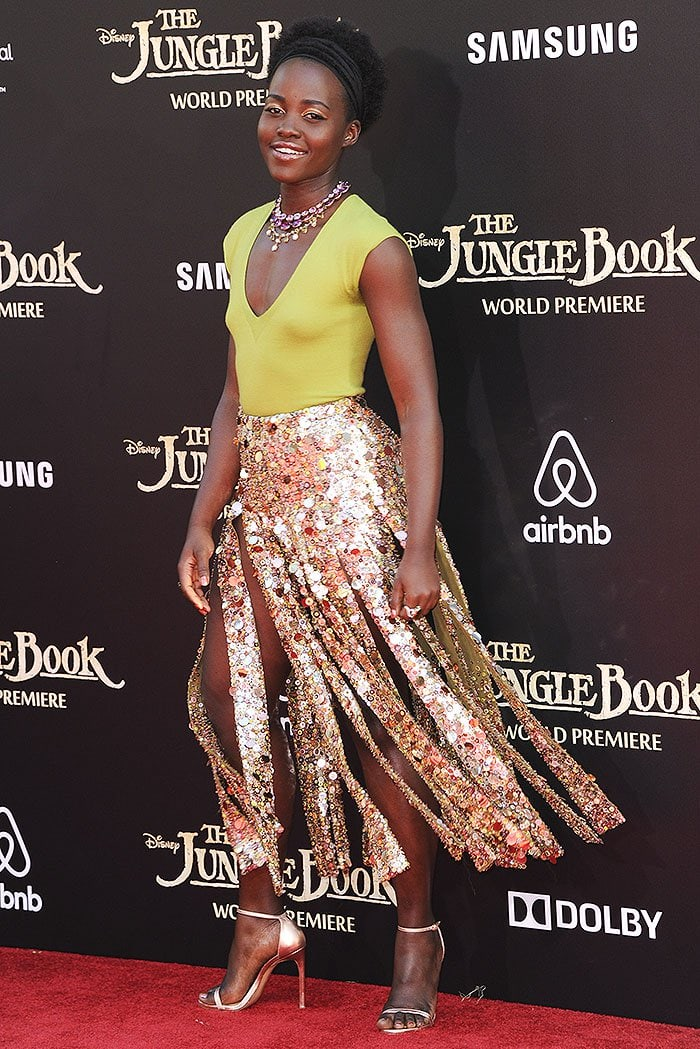 Lupita Nyong'o showed off her gladiator-style skirt's multiple slits