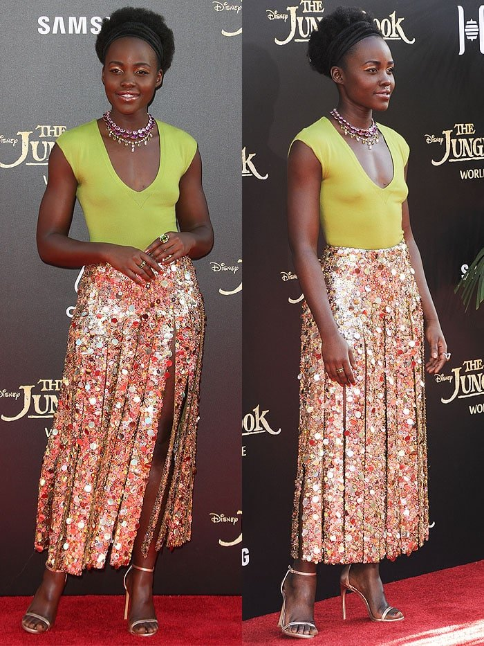 "Lupita Nyong'o at ""The Jungle Book"" premiere held at the El Capitan Theatre in Hollywood, California, on April 4, 2016"