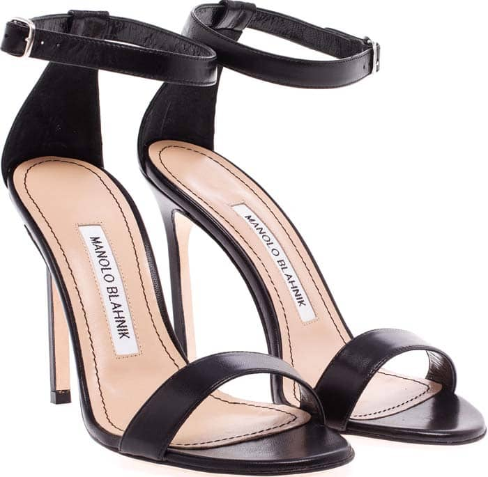 Manolo Blahnik Chaos Black Leather Sandals