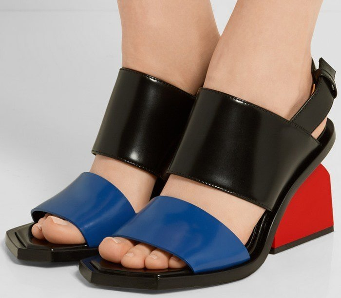 Marni Color-block glossed-leather slingback sandals