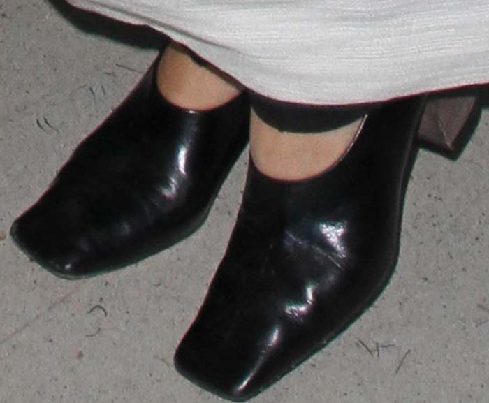 Mary-Kate Olsen's square-toed leather heels