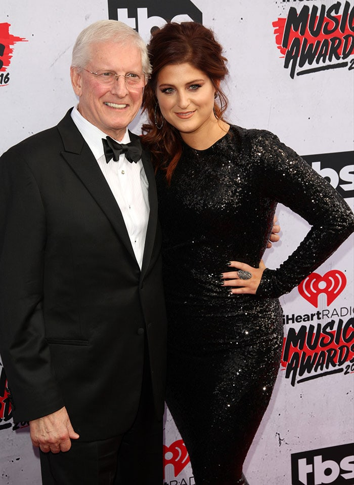 Meghan Trainor with her dad Gary Trainor at the 2016 iHeartRadio Music Awards at The Forum in Inglewood, California on April 3, 2016