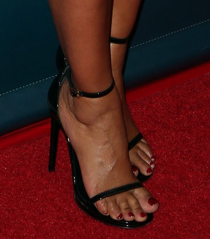 Mel B Power Dresses In Saint Laurent Jane Sandals And