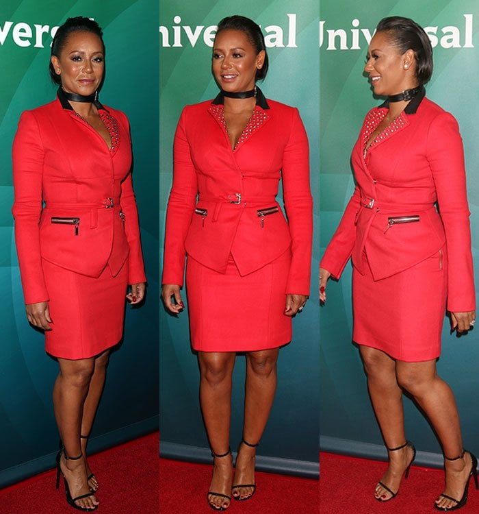 Mel-B-leather-choker-studded-red-blazer-skirt