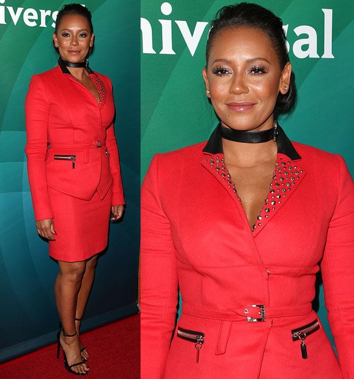 Mel-B-red-skirt-suit-studded-blazer