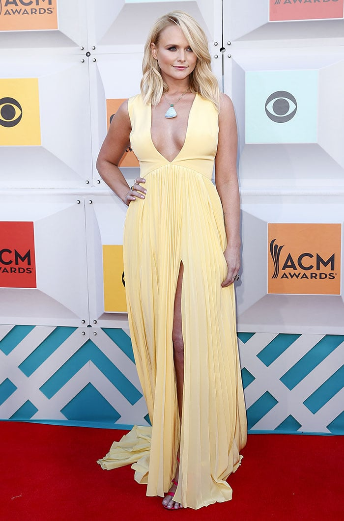 Miranda Lambert accessorized with a large turquoise pendant necklace by Irene Neuwirth