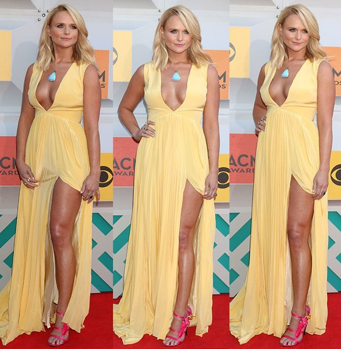 Miranda Lambert flaunted her legs in a buttery yellow dress by Christian Siriano