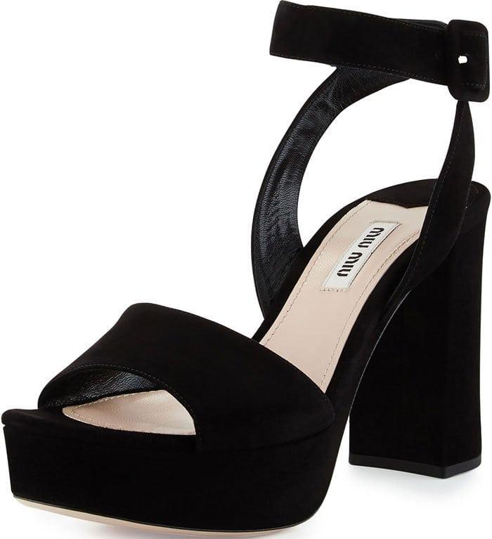Miu Miu Platform Ankle-Wrap Sandals