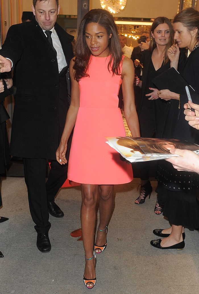 Naomie-Harris-Kate-Spade-pink-sleeveless-dress