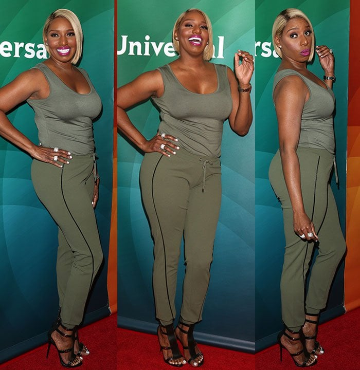 Nene Leakes in army green tank top and matching drawstring pants from her collection