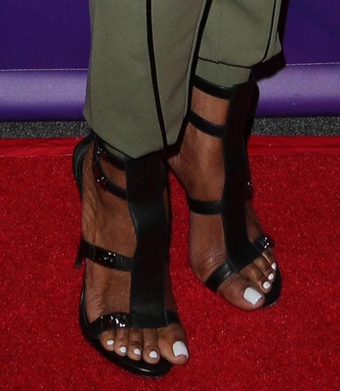 Nene Leakes rockingblack leather strappy sandals