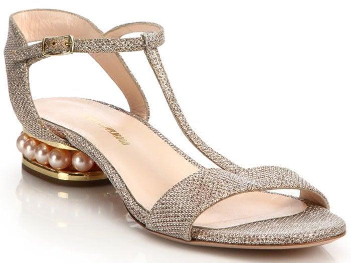 Nicholas Kirkwood Casati flat sandals champagne