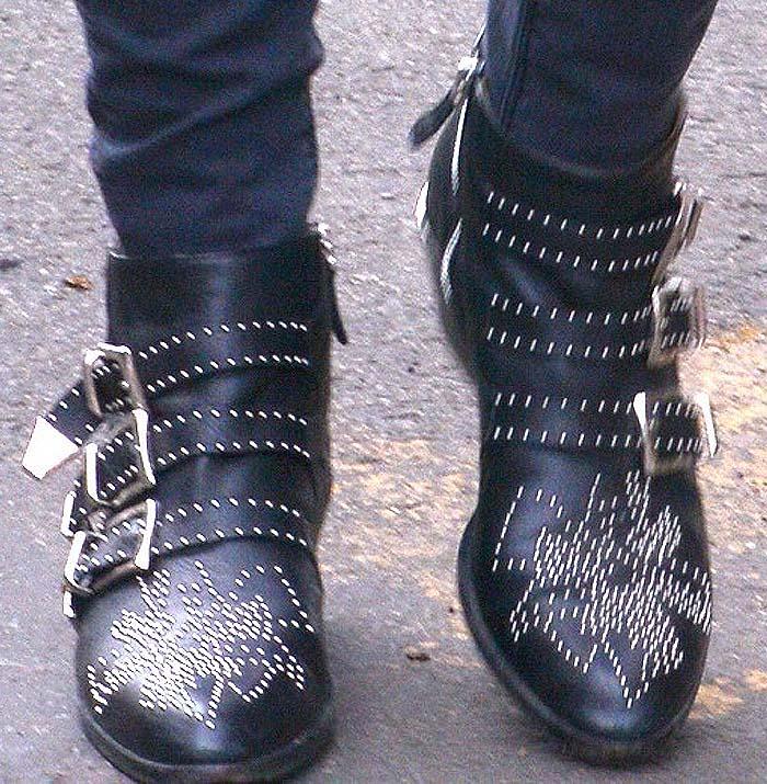 Not exactly maternity wear: Nicky Hilton slips into the 'Susanna' studded boots by Chloé