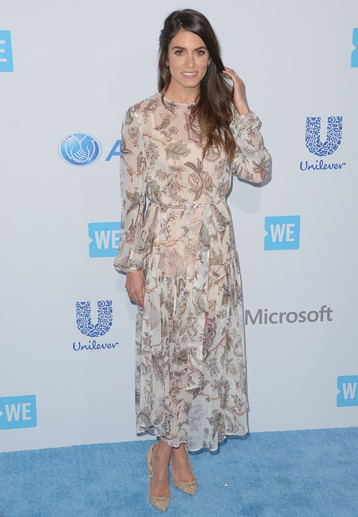 Nikki-Reed-Zimmermann-flowing-printed-chiffon-dress