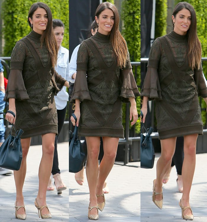 Nikki-Reed-legs-Asos-lace-woven-mini-dress
