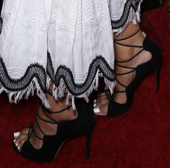 Olivia Culpo In Jonathan Simkhai Dress And Lace Up Heels
