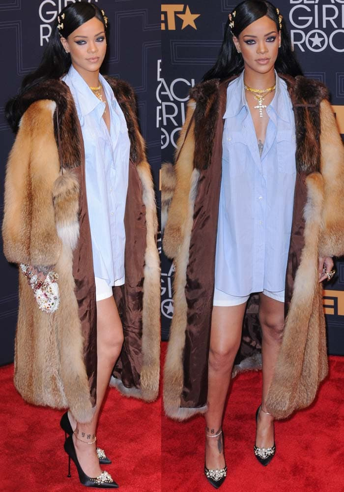 Rihanna in a blue button-up shirt and white shorts at theBET Black Girls Rock! 2016