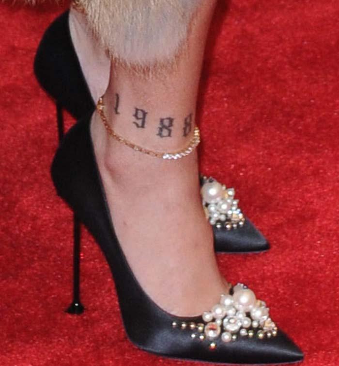 Rihanna's pearl-embellished satin pumps