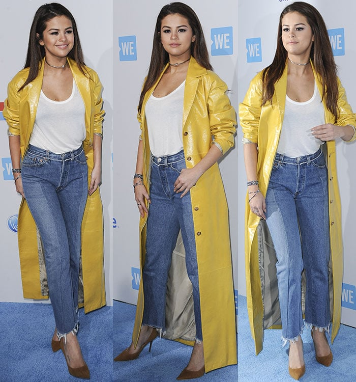 Selena-Gomez-high-waisted-jeans-yellow-coat-WE-Day