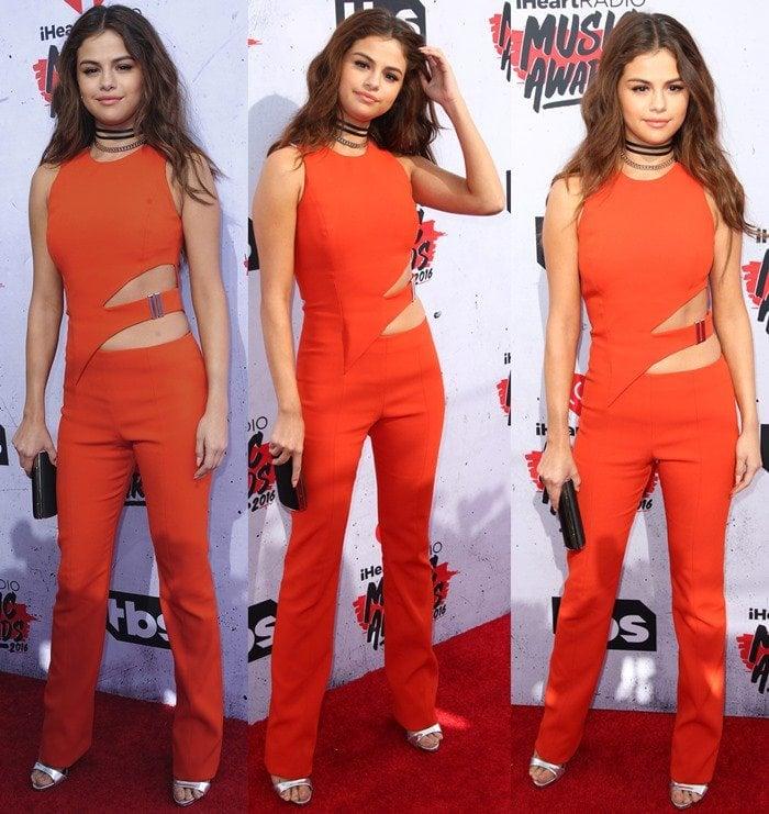 a8142a4aa89 Selena Gomez Flaunts Abs in Silver Giuseppe Zanotti Heels