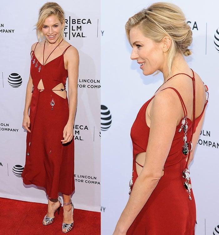 Sienna-Miller-Christopher-Kane-embellished-cutout-red-dress