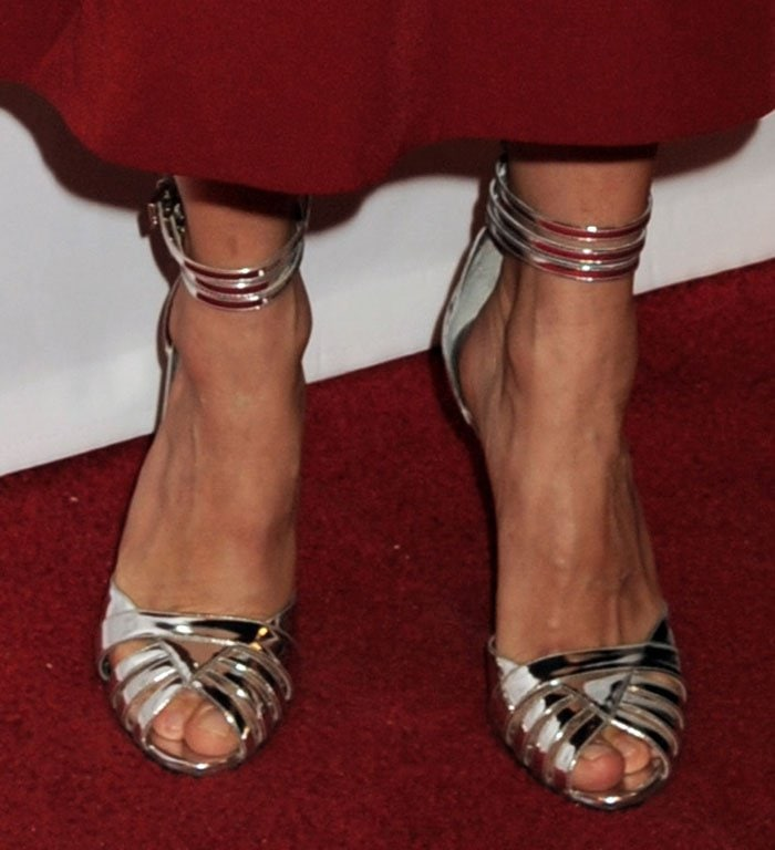 Sienna-Miller-triple-ankle-strap-silver-sandals