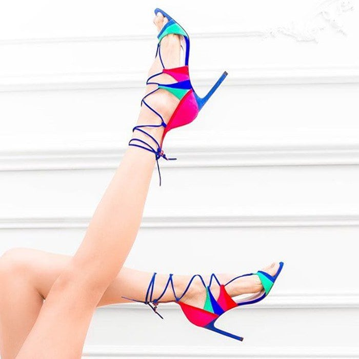 Stuart Weitzman Colorblock 'Legwrapsong' Strappy Sandals