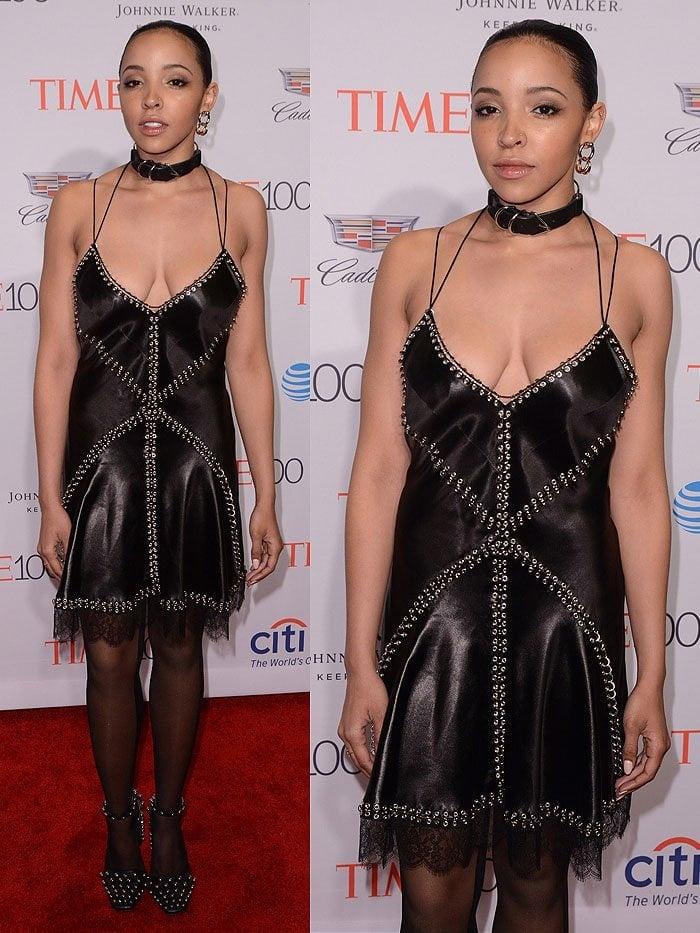 Tinashe wearing an Alexander Wang Fall 2016 black satin slip dress