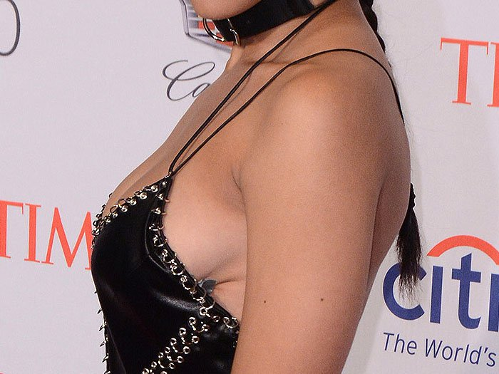 The duct tape holding Tinashe's Alexander Wang dress to her boob starting to peel off