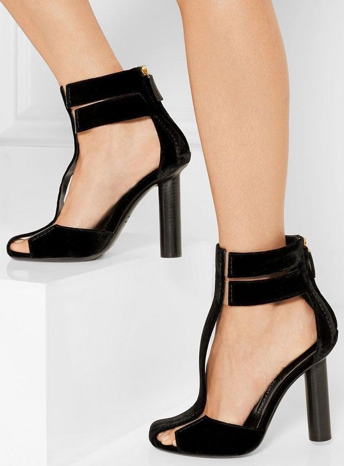Tom Ford PVC-Trimmed Velvet T-Bar Sandals