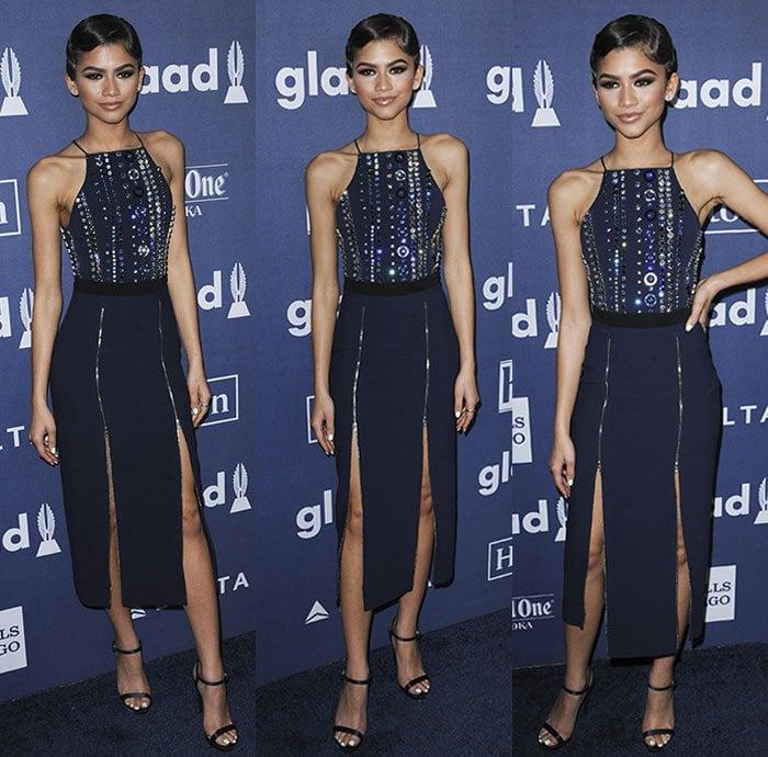 Zendaya-David-Koma-embellished-double-split-dress-2016-GLAAD-1