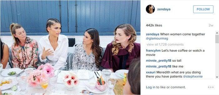 Ellen Pompeo pretends to listen to Zendaya's babbling