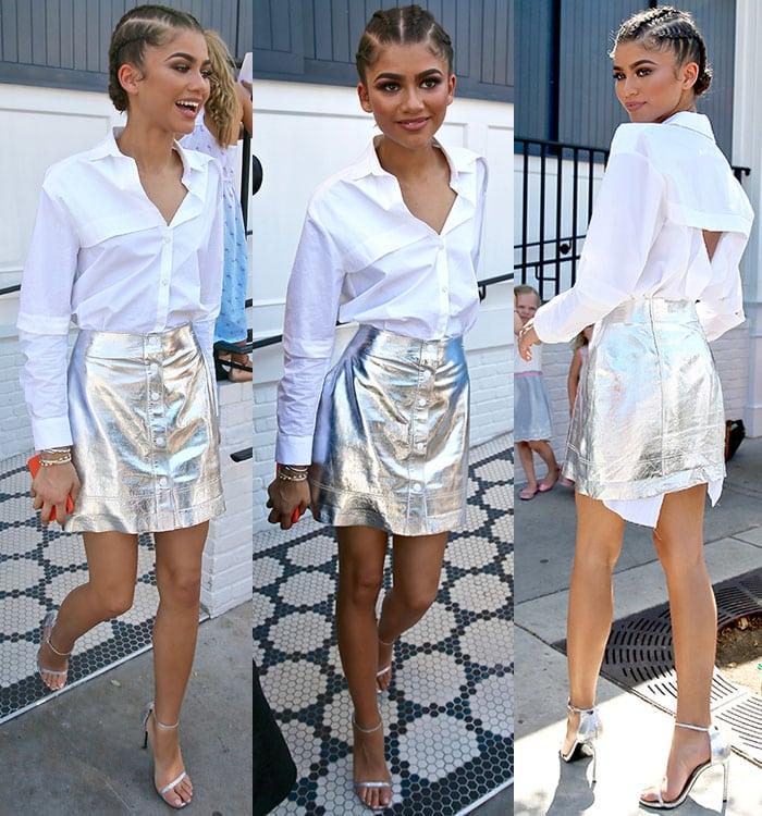 Zendaya-legs-silver-skirt-white-button-down-shirt