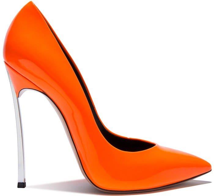 neon-orange Casadei 'Blade' pump