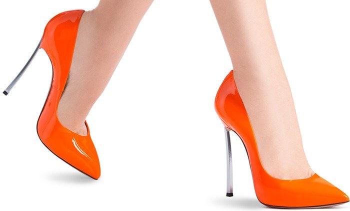 neon-orange icnic 'Blade' pumps
