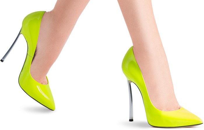 neon-yellow Casadei 'Blade' pump