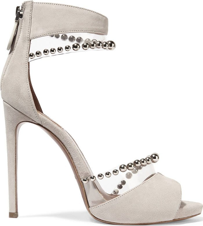 Alaia Bead-Embellished PVC and Suede Sandals
