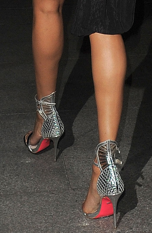 Alesha-Dixon-Carvela-Kurt-Geiger-Silver-Woven-Sandals
