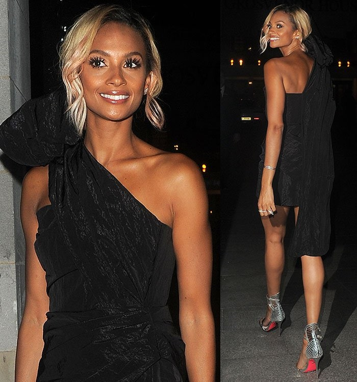 Alesha-Dixon-custom-Topshop-one-shoulder-ruched-dress