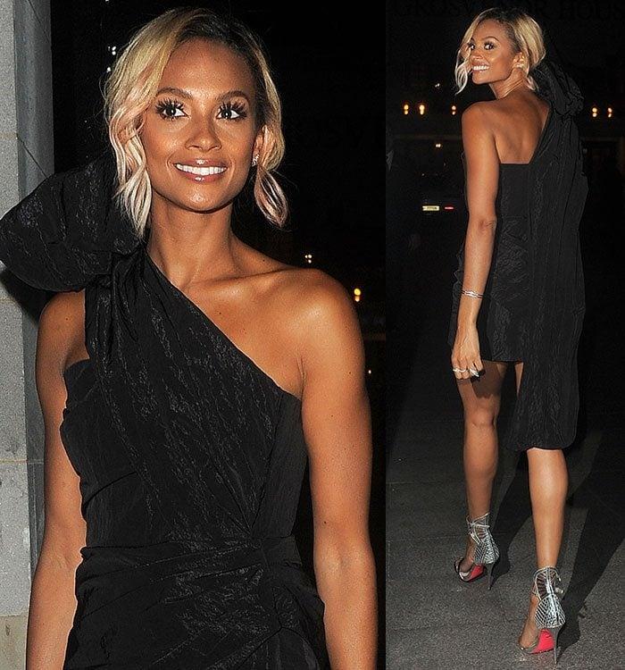 Alesha-Dixon-custom-Topshop-one-shoulder-ruched-dress