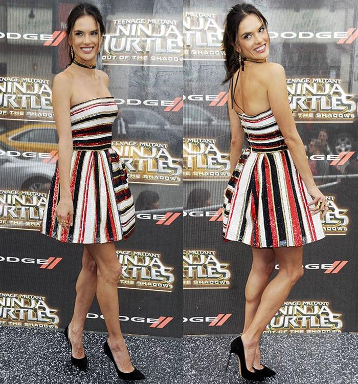 Alessandra-Ambrosio-glittery-striped-strapless-mini-dress