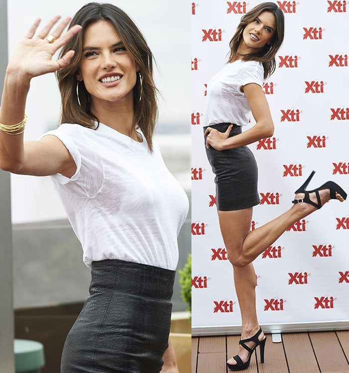 Alessandra Ambrosio at the XTI Collection photocall in Madrid, Spain on April 29, 2016