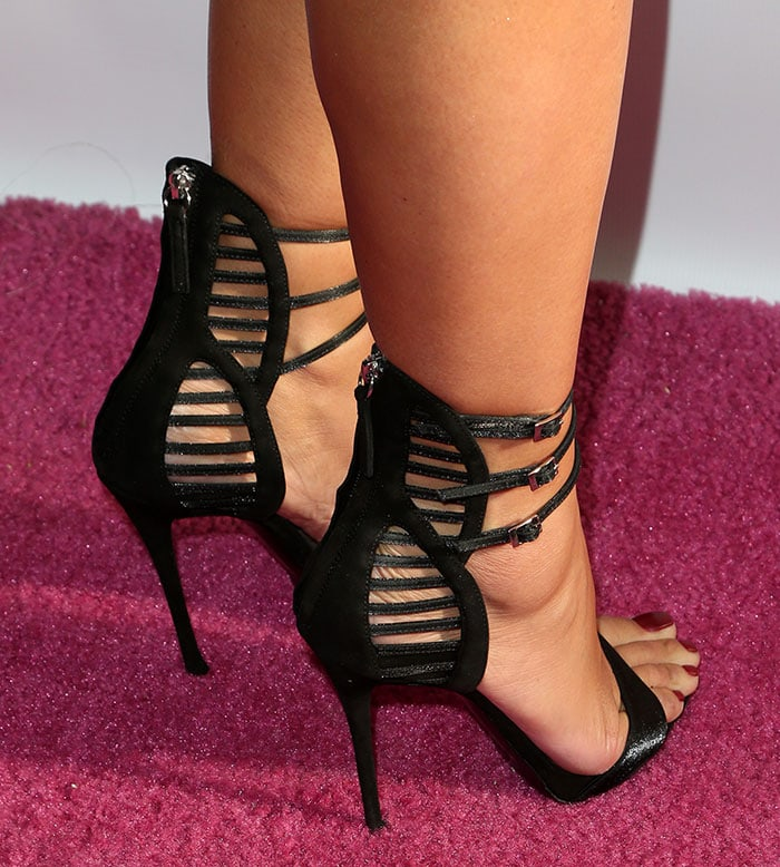 Amber Rose in Giuseppe Zanotti cage sandals